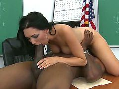Enjoy Flash Brown drilling naughty brunette babe Megan Foxx with his monster black thing