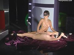 Two nude ballerinas help each other stretch