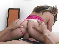Aly rides that cock as her round rump bounces.