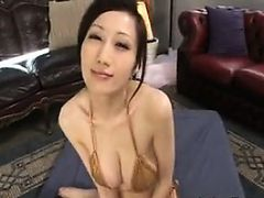 Busty Japanese MILF Giving A Blowjob POV