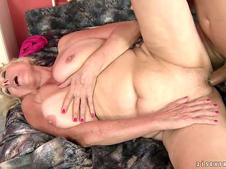 Mature with big boobs loves getting her face pounded by horny dude