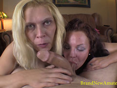 3some Fun With Horny Brunette And Blond