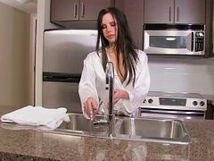 Wet kitchen masturbation