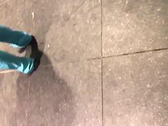 Big ghetto booty milf in light blue scrubs vpl