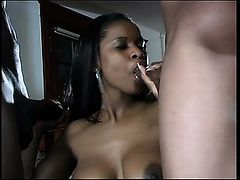 Curvy chocolate girl has two black guys punishing her holes at once
