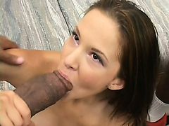 Skinny as hell brunette gets some meat in her from big black guys