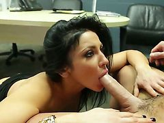 Sexy gal wearing erotic lingerie Audrey Bitoni enjoys having raunchy sex in an office with Johnny Castle