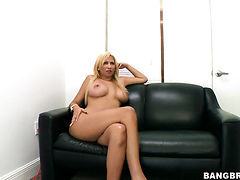Blonde chicana Paris Sweet with massive breasts and clean cunt gives giving oral pleasure to horny guy