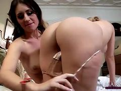Blonde seduces beautiful brunette and licks her