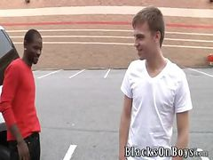Big black stud Pleasure Boi joins us this week at BlacksOnBoys.com.  He was doing some shopping and found a cute, skinny twink named Cameron Davis. Just our luck Cameron was about to get off work and is willing to see what up.  Cameron admits he very nerv