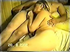 Chubby blonde sucks stiff dick and gets pussy fucked by horny guy