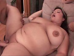 Chubby guys gangbang a fat girl in hot porn video